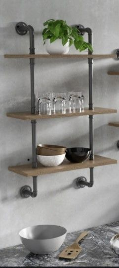 Carbon loft leyva Industrial Floating ladder Wall Shelves