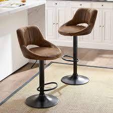 Retro Faux leather Adjustable Height Swivel Barstools SET OF 2