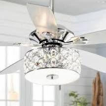 4 light Crystal 5 Blade Chandelier Ceiling Fan