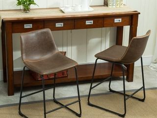 Carbon loft Inyo Vintage PU leather Counter Height Stools SET OF 2