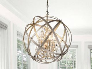 Benita Metal  amp  Crystal Orb 4 light Chandelier