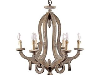 Candelabra 6 light Wood Chandelier