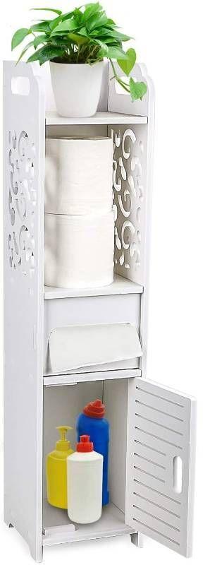 Gotega Small Bathroom Storage Toilet Paper Storage Corner Floor Cabinet with Doors and Shelves Hollow Carved Design Bathroom Organizer Furniture Corner Shelf for Paper