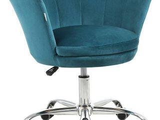 HOMEFUN Home Office Chair  Cute Modern Desk Chair Velvet Upholstered Shell Chair
