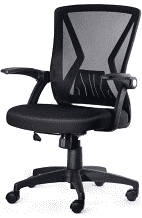 KOllIEE Mid Back Mesh Office Chair Ergonomic Swivel Black Mesh Computer Chair Flip Up Arms with lumbar Support