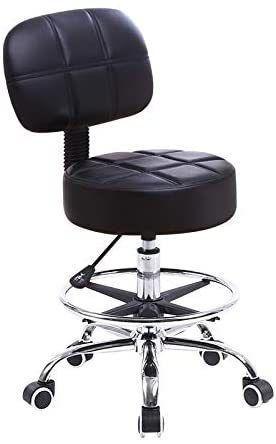 KKTONER Swivel Round Rolling Stool PU leather with Adjustable Foot Rest  Height Adjustable Task Work Drafting Chair with Back