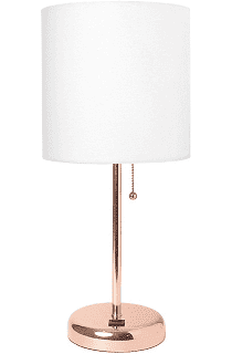 Rose Gold Stick Table lamp with USB Port and White Fabric Shade