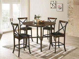 Buhl I Collection 47  Counter Height Table with Circle Top Saber legs and Traditonal Style in Burnished