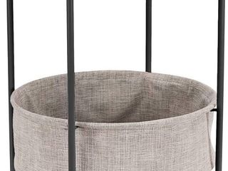 Amazon Basics Round Storage End Table   Charcoal with Heather Grey Fabric
