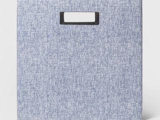 13  Fabric Cube Storage Bin Blue   Threshold