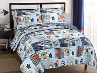 Taylor  amp  Olive Blue Patchwork  Sports Quilt Set   Retail 48 99
