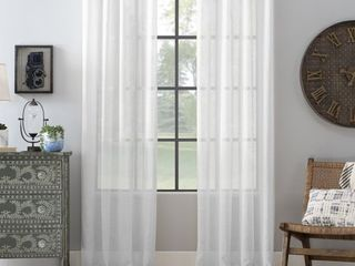 Archaeo Slub Textured linen Blend Grommet Top Curtain   Retail 48 99