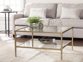 Porch and Den lakeridge Gold Metal Glass Cocktail Table   Retail 140 99