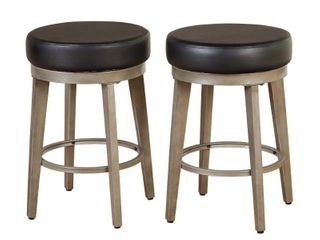 Angelo Home   24   Set of 2  linden Swivel Counter Height Barstools Black  Retail   156 00