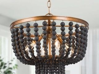 Glam Gold 4 light Boho Black Wood Beads Chandelier Ceiling Pendant for living  Dining Room   15 5in  D x 13 3in H  Retail 269 49