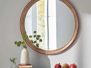 Hammett Indoor Wood Round Mirror by Christopher Knight Home   Retail 117 99