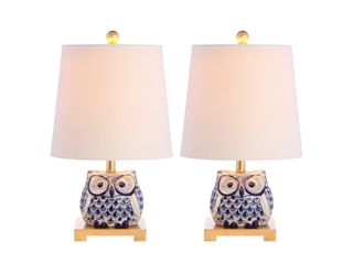 Justina  16  Ceramic Table lamp  Blue White   Set of 2  by JONATHAN Y  Retail 93 99