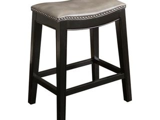 Abbyson Rivoli Grey leather Nailhead Trim Counter Stool   Retail 108 99
