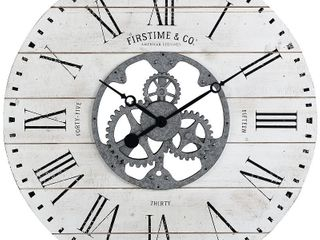 FirsTime  amp  Co  Shiplap Gears Wall Clock  Retail   114 00