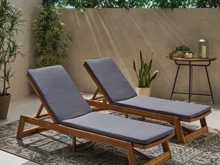 Nadine Outdoor Fabric Chaise lounge Cushion  Set of 2  by Christopher Knight Home   Retail 166 99