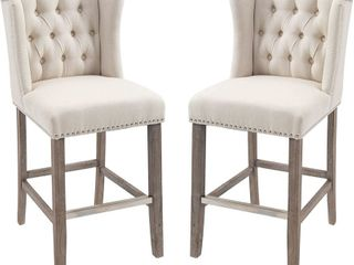 HomCom 40 in  Ivory Tufted Wingback Counter height Armless Barstools  Set of 2  Retail   411 99