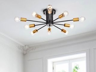 lorena Sputnik   10 light Chandelier in Gold and Black   Retail 146 99