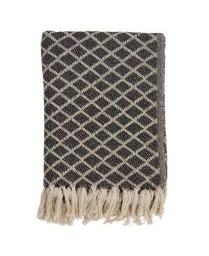 50 x60  Diamond Tassel Throw Blanket Black   Saro lifestyle