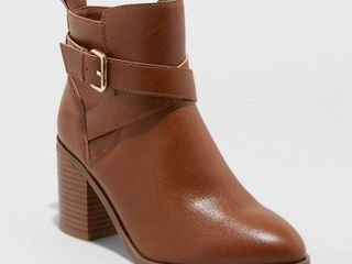 Women s lottie Heeled Buckle Ankle Bootie   A New Day Cognac 9 5