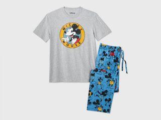 Men s Disney Mickey Mouse Pajama Set   Heather Gray M