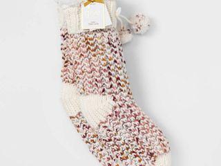 Women s Sweater Knit Sherpa lined Slipper Socks with Grippers   Ivory 4 10