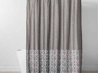 Threshold Embroidered Shower Curtain Gray