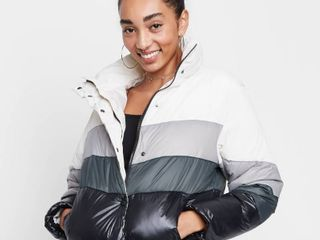 Women s Colorblock Cropped Retro Puffer Jacket   Wild Fable Gray M