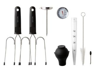 Roasting Essentials Set  leave in Meat Thermometer  Baster  Set of 2 lifters