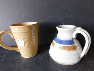 Two Earthenware Coffee Mugs