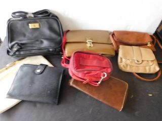 Eight clutch style purses