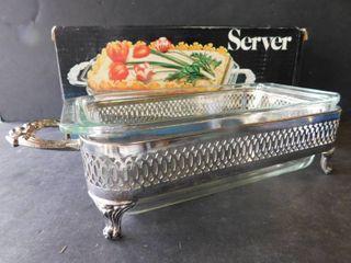 Sliver plate holder   Pyrex dish