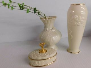 3 pieces of lennox two beautiful vases one 6  h and on 4  h with trinket box great give for someone