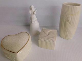 2 pieces of lennox decor one angel bell and a heart shape trinket box