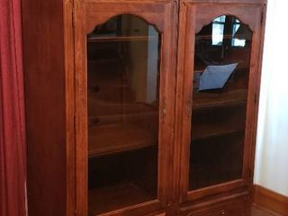 Pair of Ethan Allen Wood Media Cabinets   Each comes apart into 2 pieces each   24 x 18 x 80 in  tall each    some hardware missing