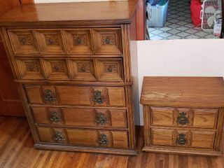 5 Drawer Chest  38 x 18 x 49 in  tall  and 2 Drawer Nightstand  top water damaged   26 x 16 x 23 in  tall