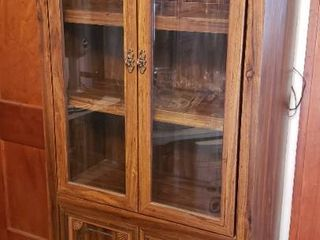 Particle Board 2 Glass Door lighted Hutch w  Under Storage Cabinet   30 x 15 x 72 in  tall