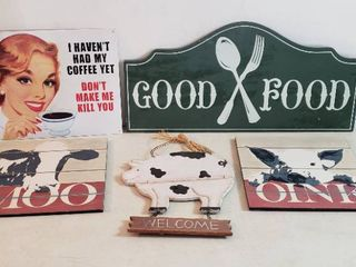 Kitchen Wall Decor   5 Signs   4 wood   1metal
