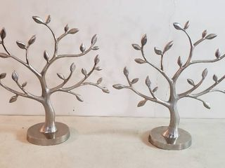 Pair of Hallmark cast aluminum Trees   20 x 20 in