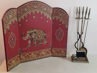 2 Fireplace Decor Pieces   Elegant Elephant 3 wood panel screen  36 x 32 in  tall  and Fireplace Tools  30 in  tall