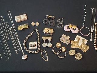 Fashion Jewelry  Goldtone   Silvertone Necklaces and Clip Earrings