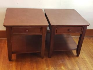 Pair of Wood End Tables w Single Drawer   24 x 26 x 25 in  tall   some wear