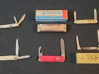 Bluesband Horner International Harmonica and 5 Pocketknives   Buck Knife 309   one blade broken