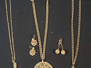 Goldtone Fashion Jewelry  Royal Crest Necklace   Earrings  Whiting   Davis Cross Necklace  Sara Coventry Cross Necklace and Ball Clip Earrings