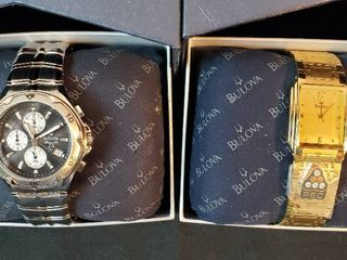 2 Bulova Men s Metal Watches  Silvertone Marine Star and Goldtone w 10K Gold Emblem attached to Band   NIB