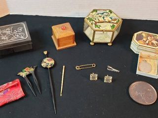 Trinket Boxes  Medallions  Men s Jewelry and Oriental Style Hair Pins